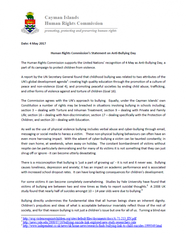 Press Release on Anti-Bullying Day 2017
