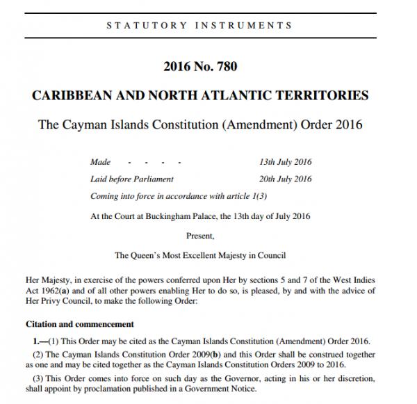 The Cayman Islands Constitution (Amendment) Order 2016
